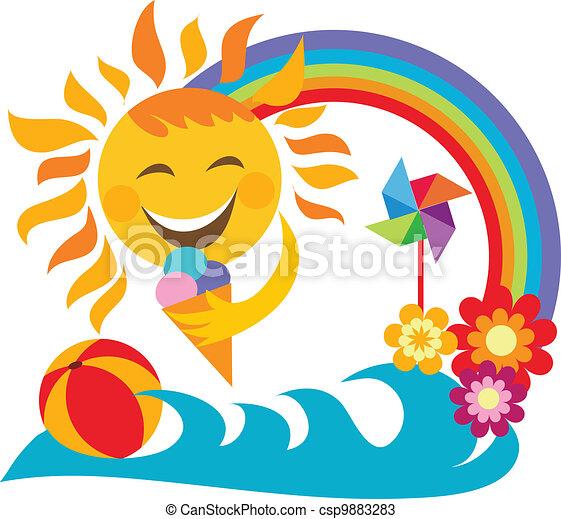 été, soleil, glace, tenue, heureux, vacation;, crème - csp9883283