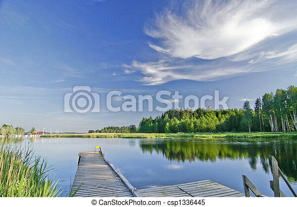 été, vif, ciel, lac, calme, sous - csp1336445