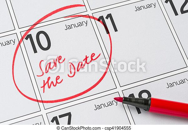 -, écrit, janvier, 10, sauver, date calendrier - csp41904555