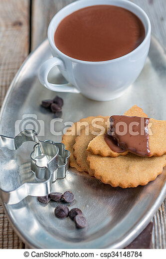 above., biscuits, chaud, chocolate., vue - csp34148784