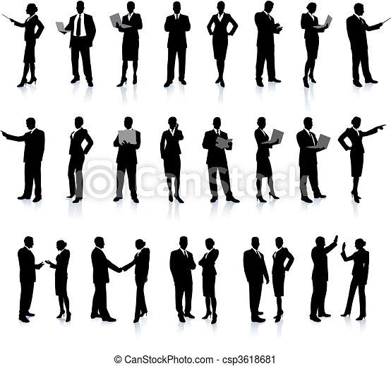 affaires gens, ensemble, super, silhouette - csp3618681