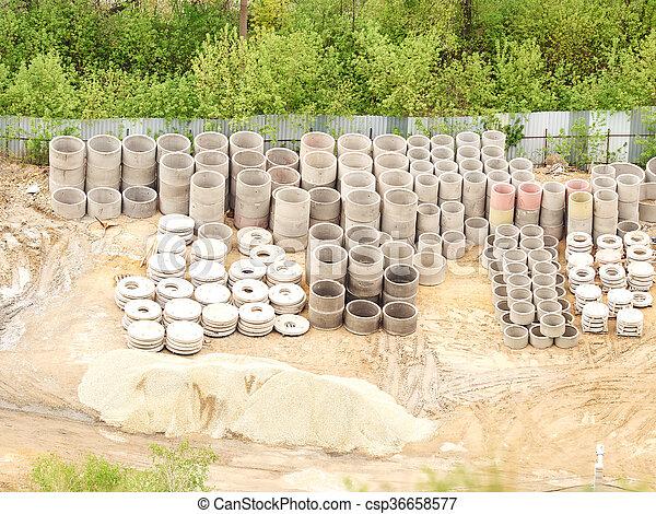 anneaux, piles, béton, égout - csp36658577