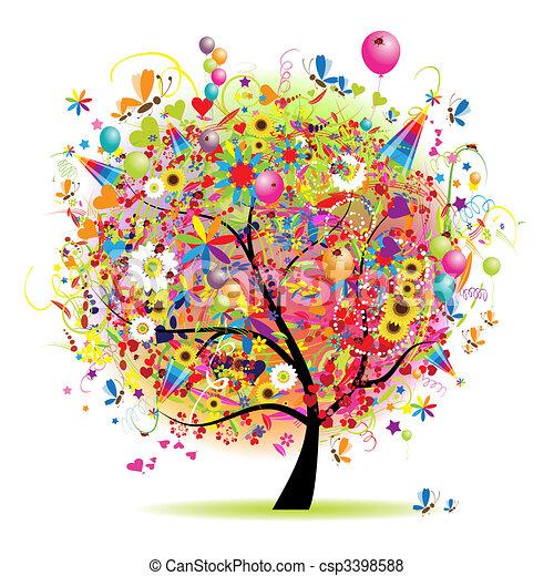 arbre, heureux, vacances, rigolote, ballons - csp3398588