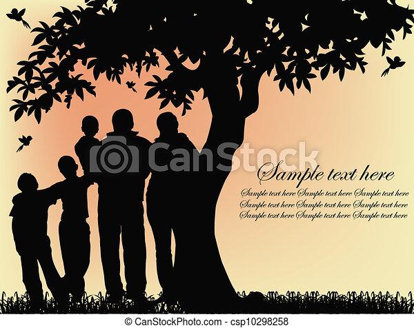 arbre, silhouette, gens - csp10298258