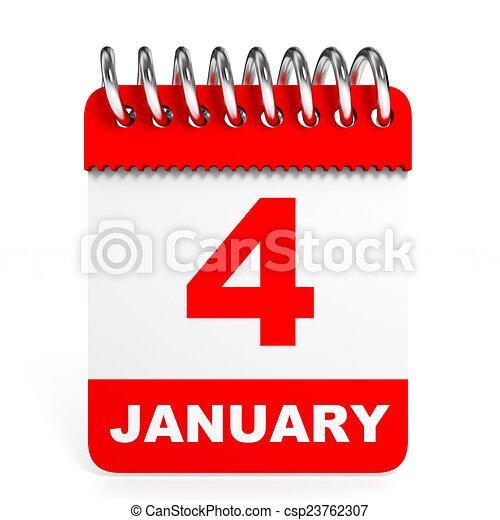 arrière-plan., calendrier, blanc, january., 4 - csp23762307
