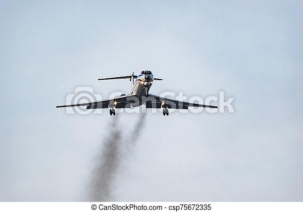 atterrissage, soir, avion passager, time. - csp75672335