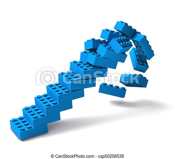 bâtiment, écroulant, escalier, bloc, 3d - csp50256538