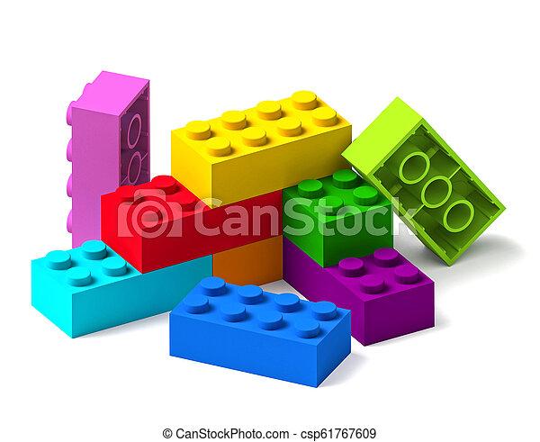 bâtiment, arc-en-ciel, blocs jouet, couleur, 3d - csp61767609