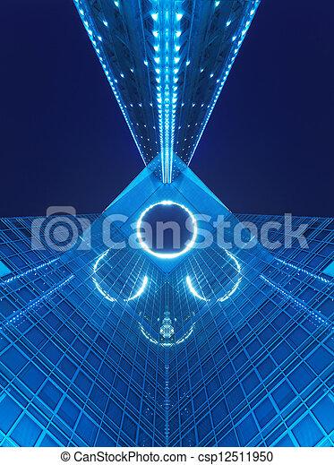 bâtiment, bleu, bureau, nuit - csp12511950