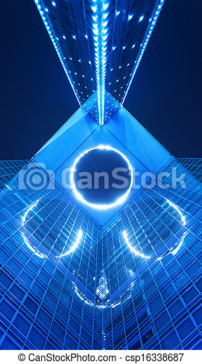 bâtiment, bleu, bureau, nuit - csp16338687