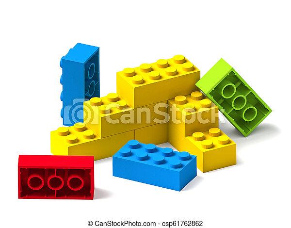 bâtiment, blocs jouet, coloré, blanc, 3d - csp61762862