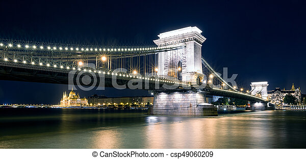 bâtiment, budapest, parlement, chaîne, hongrois, brdige, nuit - csp49060209