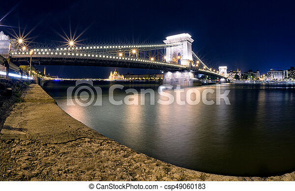 bâtiment, budapest, parlement, chaîne, hongrois, brdige, nuit - csp49060183