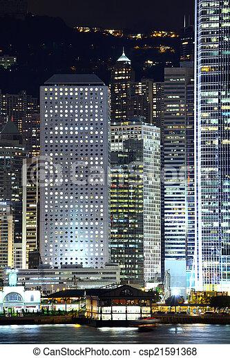 bâtiment, bureau, nuit - csp21591368