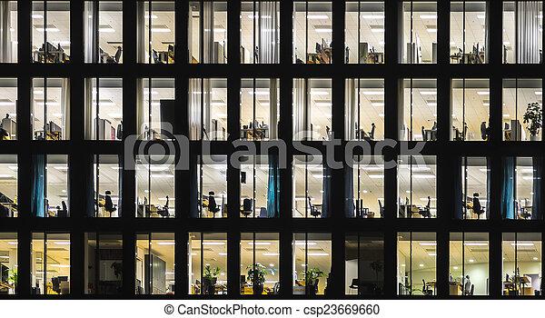 bâtiment, bureau, nuit - csp23669660