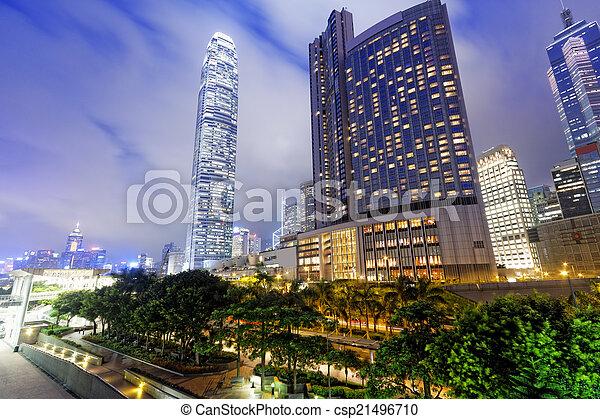 bâtiment, bureau, nuit - csp21496710