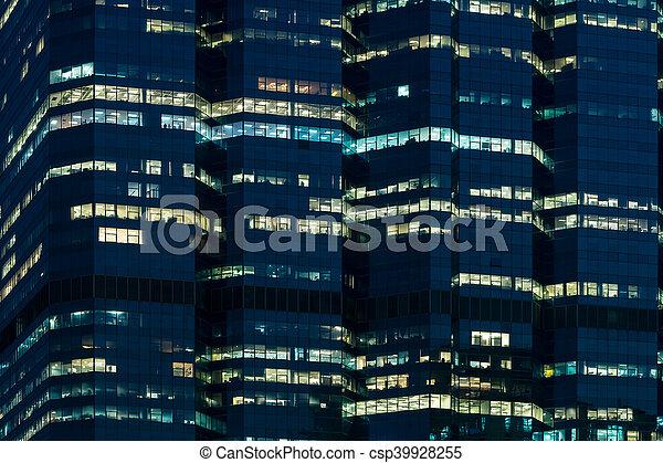 bâtiment, bureau, nuit - csp39928255