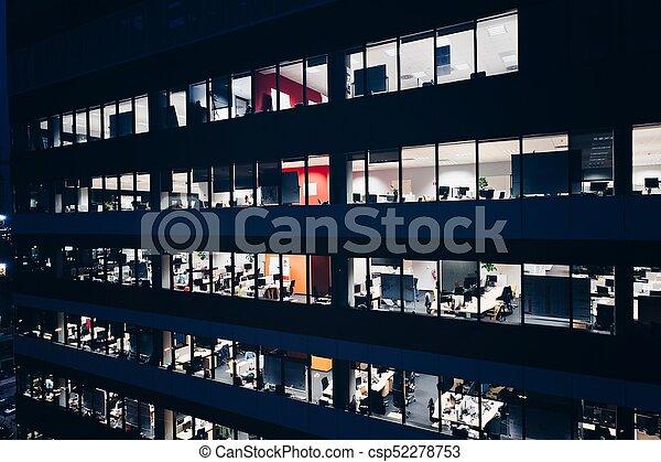bâtiment, bureau, nuit - csp52278753