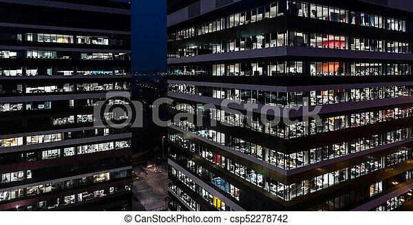 bâtiment, bureau, nuit - csp52278742