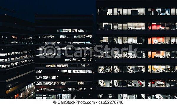 bâtiment, bureau, nuit - csp52278746