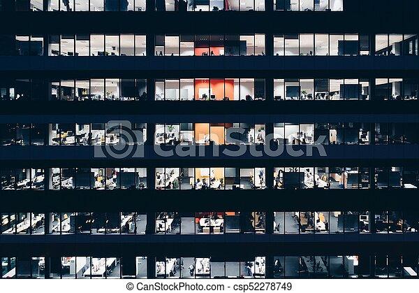 bâtiment, bureau, nuit - csp52278749