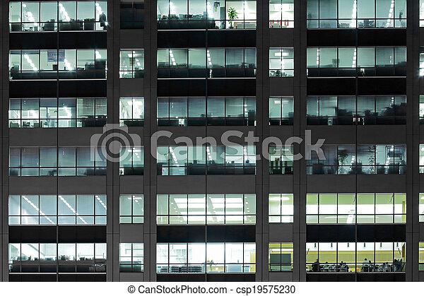 bâtiment, bureau, nuit - csp19575230