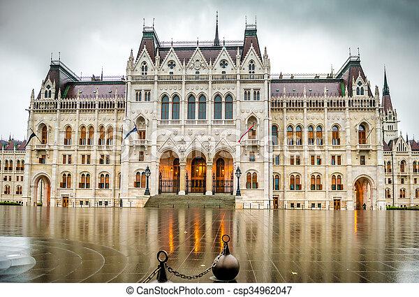 bâtiment, entrée, parlement, hongrois, national - csp34962047