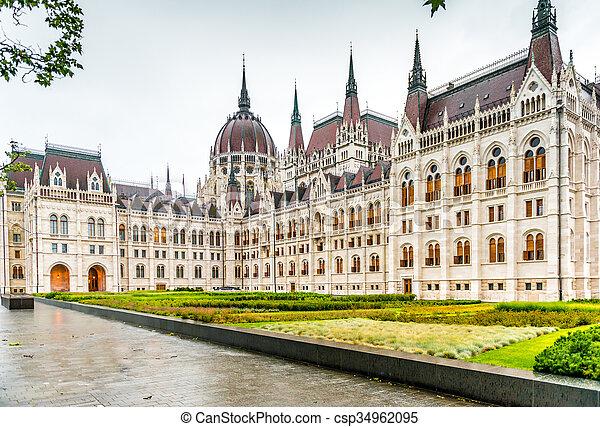 bâtiment, entrée, parlement, hongrois, national - csp34962095