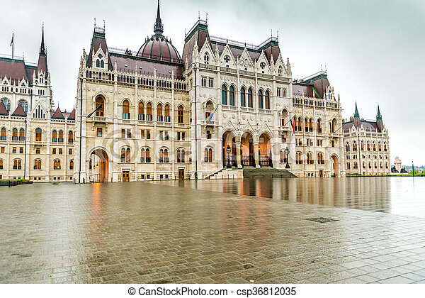 bâtiment, entrée, parlement, hongrois, national - csp36812035