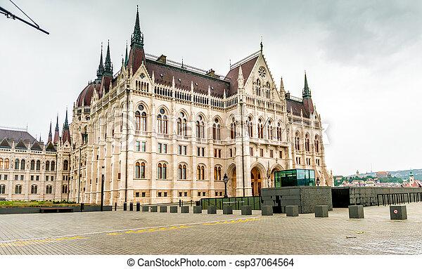 bâtiment, entrée, parlement, national, hongrois - csp37064564