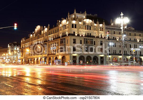 bâtiment, (metropol, centre, moscou, historique, nuit, russie, hotel) - csp21507804