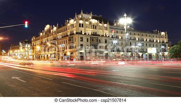 bâtiment, (metropol, centre, moscou, historique, nuit, russie, hotel) - csp21507814