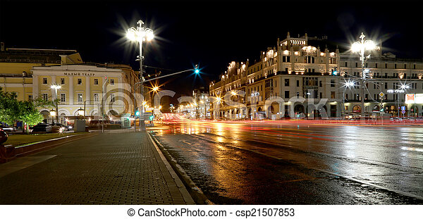 bâtiment, (metropol, centre, moscou, historique, nuit, russie, hotel) - csp21507853