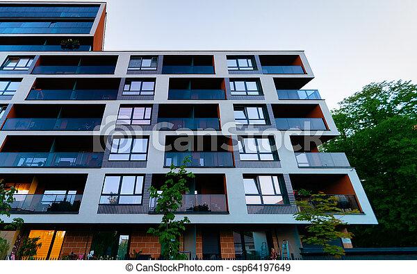 bâtiment, nouveau, appartement, extérieur - csp64197649