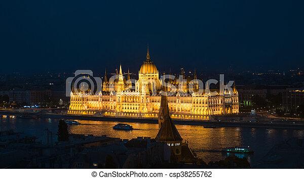 bâtiment, parlement, éclairé, hongrois, national, nuit - csp38255762