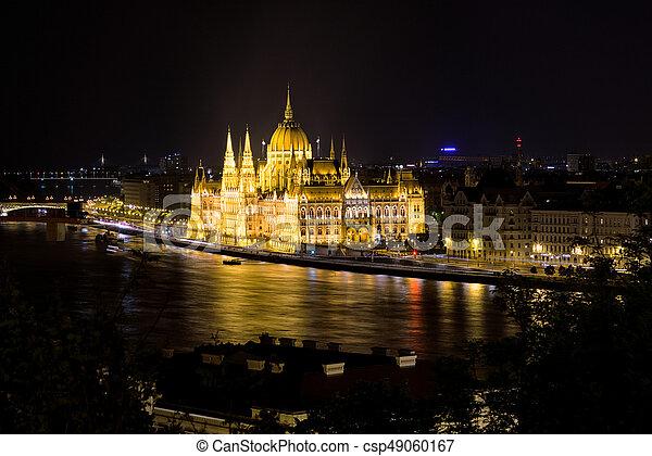 bâtiment, parlement, hongrois, nuit - csp49060167