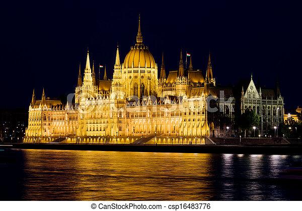 bâtiment, parlement, hongrois, nuit - csp16483776