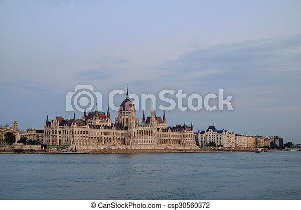 bâtiment, parlement, hongrois, nuit - csp30560372