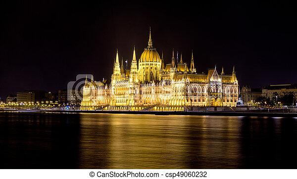 bâtiment, parlement, hongrois, nuit - csp49060232