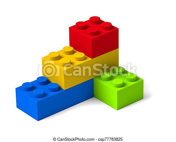 bâtiment, quatre, briques, 3d, coloré, blocs jouet - csp77783825
