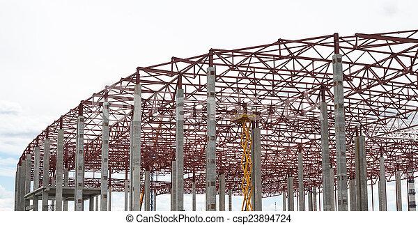 bâtiment, site., construction, nouveau, cadre - csp23894724