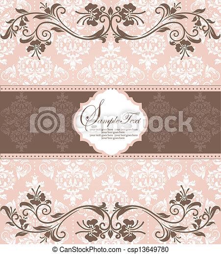 backgroun, invitation, carte, damassé - csp13649780