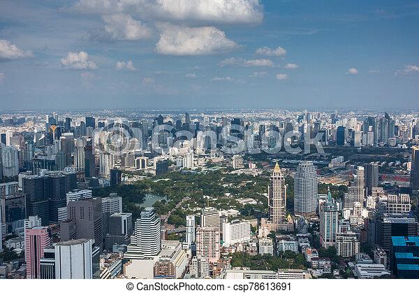 bangkok, vue aérienne, ville - csp78613691