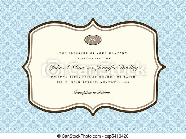 bleu, cadre, vecteur, arrondi, invitation - csp5413420