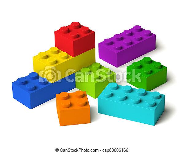 blocs, bâtiment, 3d, couleurs, arc-en-ciel - csp80606166