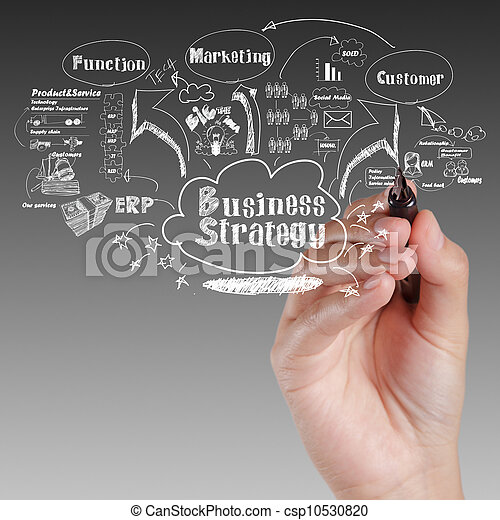 business, processus, idée, stratégie, planche, main, dessin - csp10530820