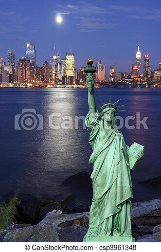 capture, sur, hudson, york, nuit, cityscape, nouveau - csp3961348
