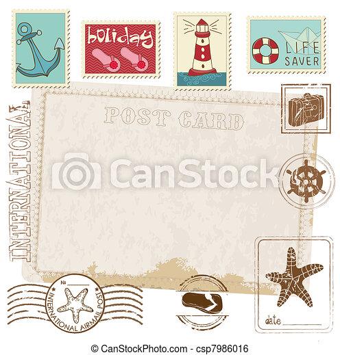 carte postale, -, timbres, conception, retro, mer, invitation, album - csp7986016