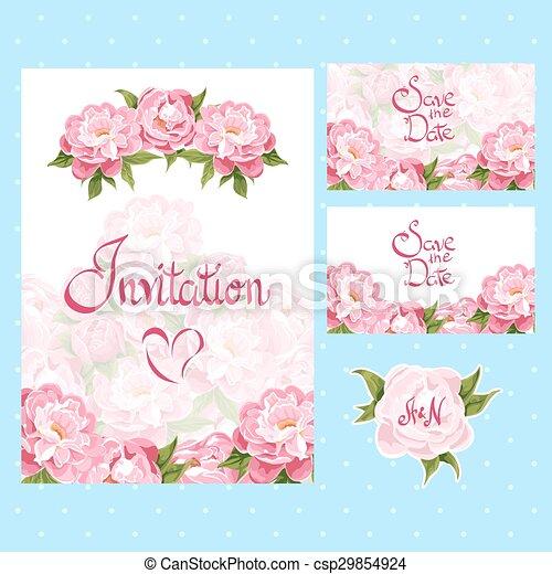 cartes, ensemble, invitation - csp29854924