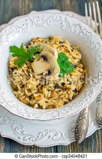 champignons, above., risotto, vue, onions. - csp34048421